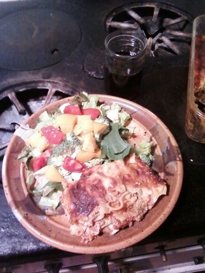 Lasagna and Fresh Salad with Arkansas Wine